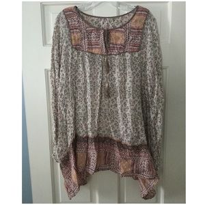 Free People Peasant Blouse Ivory Floral Gold L